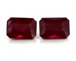 2.66 Cttw Pair of Emerald Cut Rubies: Rich Pigeon Blood Red