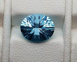 3.45Crt Concave Blue Topaz Natural Gemstones JI57