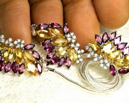 113.8 Tcw. Citrine, Garnet, Gold Plated Earrings, Pendant, Chain