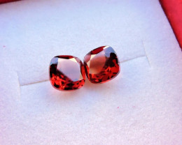 2.25ct PAIR BRIGHT RED GARNET FROM MOZAMBIQUE SQUARE CUSHION CUT