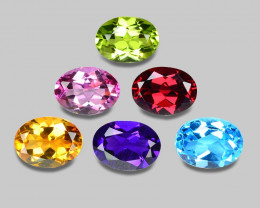 8.14 Cts  6Pcs 6Colors 8 x6 MM Calibrated Genuine Gemstones Collection