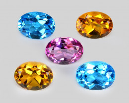7.04 Cts 5 Pcs 5 Colors 8 x6 MM Calibrated Genuine Gemstones Collection