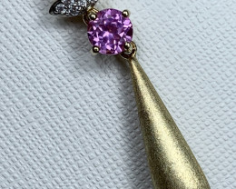 Pink Topaz 1.72g Sterling Silver 925 Gold Plating Pendant E1306