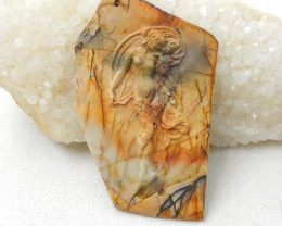 New Gorgeous Pendant,Carved Multi-Color Picasso Jasper Gemstone Goddess Pen