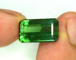5.25 Carats Emerald Cut ~ Grass Green Color tourmaline Loose gemstone From