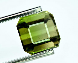 8.65 Carats Emerald Cut Natural Mossy Green Color Afghan Tourmaline Gemston