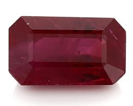 1.68 Carat Emerald Cut Ruby: Deep Rich Red