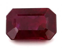 1.38 Carat Emerald Cut Ruby: Deep Rich Red
