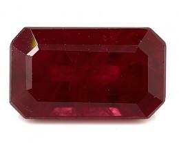 1.47 Carat Emerald Cut Ruby: Deep Rich Red