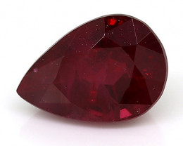 0.75 Carat Pear Shape Ruby: Deep Rich Red
