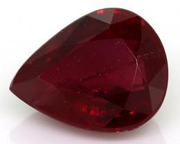 0.64 Carat Pear Shape Ruby: Rich Red