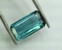 2.80 Carats Emerald Cut ~ indicolite Emerald Sea Touched Color Tourmaline L