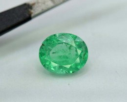 1.45 ~ Carats Oval Cut Green Color Beautifull Panjsher Emerald Gemstone