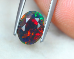 1.31ct Ethiopian Welo Solid Black Smoked Faceted Opal Lot V5215
