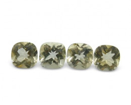 4 Stones - 2.08 ct Heliodor 5mm Cushion