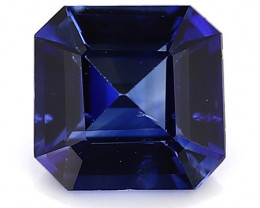 0.58 Carat Emerald Cut Blue Sapphire: Rich Royal Blue
