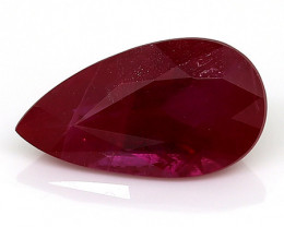 1.29 Carat Pear Shape Ruby: Rich Red