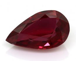 0.52 Carat Pear Shape Ruby: Intense Red