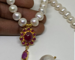 (29) Beautiful Natural Pearl and baroque pearl and Ruby composite Necklace