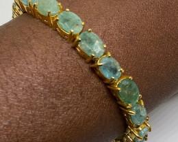 (10) Sublime 108.0tcw Emerald Bracelet 14K Rose Gold over silver