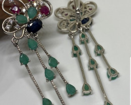 (2) Wonderous Nat 32.76 tcw. AAA Ruby Sapphire & Emerald Earrings Heated ON