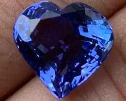 6.45 ct AAA Tanzanite Heart - Loupe Clean - No Reserve!