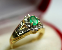 0.77 ct Top Colombian Emerald Diamond Ring  Size 6.75