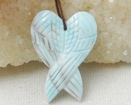 Hand Carved Larimar  Wing Pendant Bead,Healing Stone E546