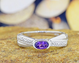 N/R Natural Amethyst 925 Sterling Silver Ring Size 6 (SSR0542)