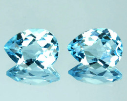 4.10 Cts Natural Sky Blue Topaz 9x7mm Pear Checkerboard 2Pcs Brazil
