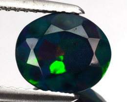 1.18 Cts Multi-Color Play Smoked Ethiopian Black Opal Oval Cut