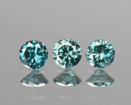 0.13 Cts Natural Electric Blue Diamond 3Pcs Round Africa