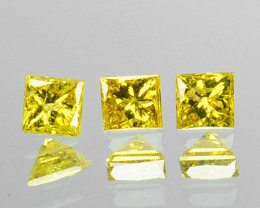 0.09 Cts Natural Diamond Golden Yellow 3Pcs Princess Cut Africa