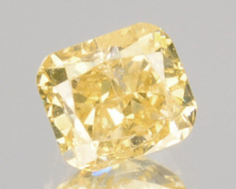 0.30 Cts Untreated Natural Diamond Fancy Yellow Cushion Cut Africa