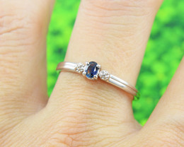 N/R Natural Blue Sapphire 925 Sterling Silver Ring Size 8 (SSR0609)