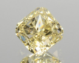 0.21 Cts Untreated Natural Diamond Fancy Yellow Cushion Cut Africa