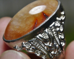 77.60 CT UNTREATED Indonesian Chalcedony Agate Jewelry Ring