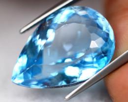 27.47Ct Swiss Blue Topaz Pear Cut Lot LZ3440