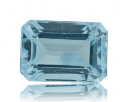 9 ct Genuine 14x10 mm Emerald Cut Sky Blue Topaz- $1 No Reserve Auction