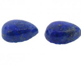 2 Stones - 4.17 ct Pear Shape Natural Fine Blue Lapis Lazuli Gemstone