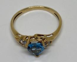 (17) Delightful  Nat. 1.00 ct Blue Topaz and diamond Ring 10K YG