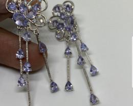 (LBA) Splendid Nat 32.34 tcw Top Rich Violet Blue Tanzanite Earrings