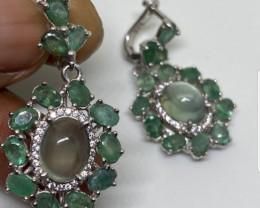 (31)  Astounding Nat 47.80 tcw. Prehinite Emerald CZ Earrings