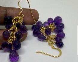 (9) Gorgeous Nat 49.4 tcw. Top Intense Purple Amethyst Earrings Untreated