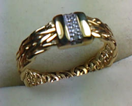 Beautiful Hand - Made Diamonds 14 K Gold Ring Size 6.0