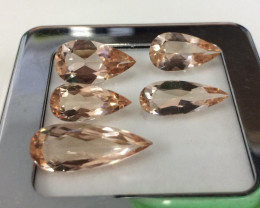 18.35 Carat 5Pcs Very Rare Pink Color Natural Morganite Gemstone