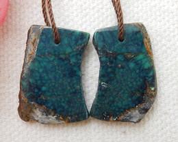 18.5cts Nugget Turquoise Earrings,Handmade Gemstone ,Turquoise Earrings E58