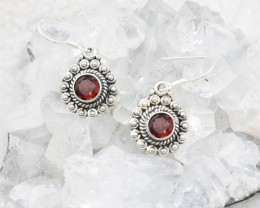 GARNET EARRINGS 925 STERLING SILVER NATURAL GEMSTONE JE68