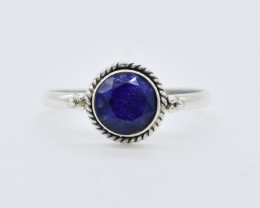 LAPIS RING 925 STERLING SILVER NATURAL GEMSTONE JR85