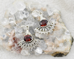 GARNET EARRINGS 925 STERLING SILVER NATURAL GEMSTONE JE74
